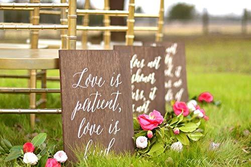 CELYCASY 1 Corinther 13 Schilder, 8 Stück, Love Never Fails Schilder, Love is Patient Schilder, Aisle Schilder, Hochzeits-Vers Schilder, 1 COR 13 Hochzeitsschilder