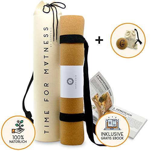 aGreenie® Premium Eco Yogamatte Tasche Set - Kork Naturkauschuk - 4mm – rutschfest – schadstoffrei – Sport Fitness Gymnastik Matte - inkl. Tragegurt Plus Geschenk Massageball und E-Book