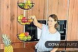 Chefarone Obstkorb zum Aufhängen - 130cm Küchenampel für mehr Platz auf Ihrer Arbeitsplatte - Obst Hängekorb Küche - Obstschale hängend (schwarz) - 2