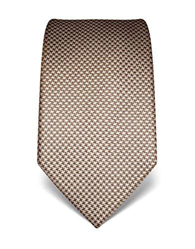 Vincenzo Boretti Herren Krawatte reine Seide Hahnentritt Muster edel Männer-Design zum Hemd mit Anzug für Business Hochzeit 8 cm schmal/breit braun