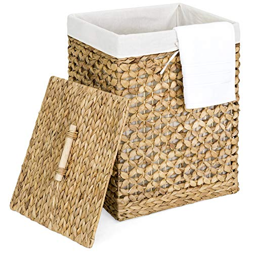 Best Choice Products Decorative Woven Water Hyacinth Wicker Laundry Clothes Hamper Basket w/Liner, Lid - Natural