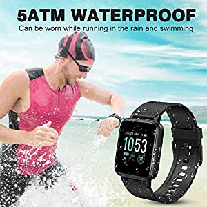 GRM Smart Watch Fitness Watch with Heart Rate Monitor, Activity Tracker Smartwatch 1.3 Inch Full Touch Screen Fitness Tracker 5ATM Waterproof Daily Fitness Tracking Sleep Monitor Step Counter
