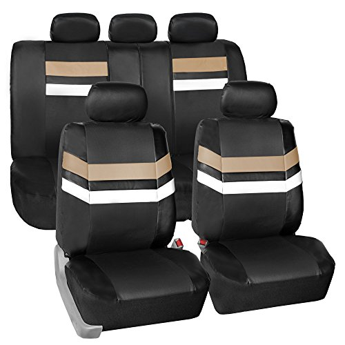 FH Group Leather Full Set Seat Covers Beige Airbag Safe PU006BEIGE115 & Split Bench Ready