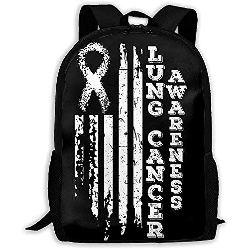 Kimi-Shop Mochila Unisex para Adultos Bandera de EE. UU. Conciencia del cáncer de pulmón Mochila Mochila de Viaje Mochilas Escolares Mochila para Hombres y Mujeres