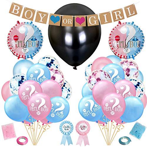 Hongyans Gender Reveal Party Kit Baby Shower Decorazioni con Gender Reveal Palloncino, Daddy e Mommy to Be Distintivo, Boy or Girl Banner, Palloncini Coriandoli Rosa Blu e Altro