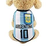 OMMO LEBEINDR Pequeña Ropa para Perros De Fútbol De Malla Transpirable Camiseta Perros del Traje Nacional De Fútbol Gatos- Argentina (XS) Ropa De Perros Pequeños