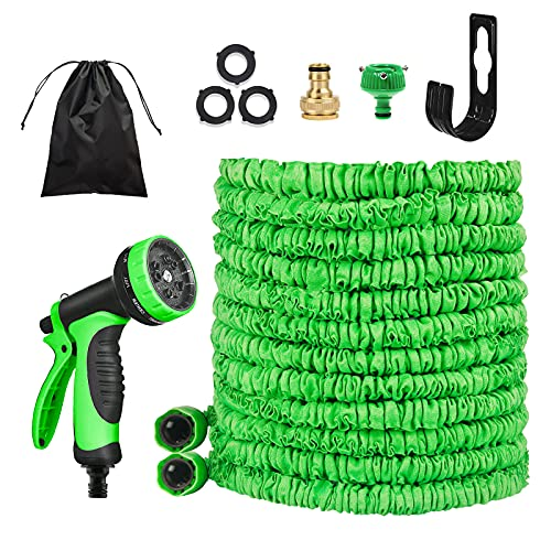 ADOFF Manguera flexible de jardín, 30 m, manguera de riego extensible con 10 funciones, montaje en pared, sin pliegues, manguera flexible para lavado de coche, riego de jardín, patio