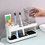 Toothbrush Holder Electric Tooth Brush Toothpaste Holder Set for Couple Family & Children's ,Tooth Paste Cleanser Storage Cups Holder for Bathroom Restroom Vanity Apartment(Contains 2 Cups)