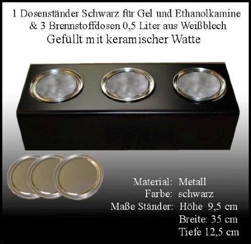 Socle en Métal Noir / 3 Doses de Carburant (0,5 litre, Vide) / Joignant Laine Céramique