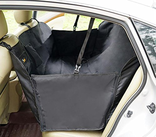 LOHUA Portable Waterproof Dog Car Rear Seat Cover Blanket Travel Pet Hammock Car Seat Protector Cover Mat for Cars-The Best Luxury Protector for Your Back Seat, Black