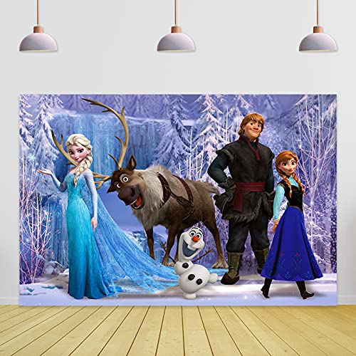 Fro_Zen Birthday Backdrop 5x3ft Ice Wonderland Princess an_na and E_LSA Banner Backdrops for Girl Photo Backgrounds Dessert Tabletop Decor