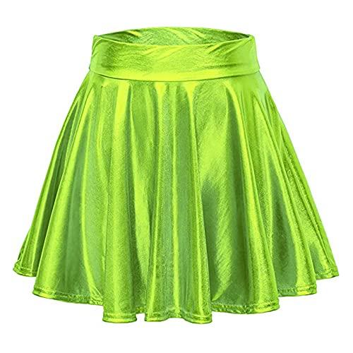 DRAGONHOO Women's School Uniform Mini Skirts Women's Casual Fashion Shiny Metallic Flared Pleated A-Line Mini Skirt Night Out Skirt Green