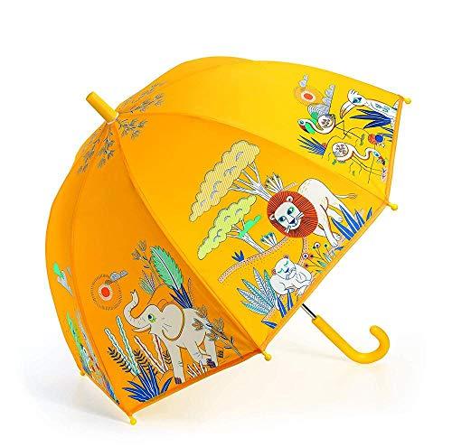 Kinder Regenschirm Stockschirm mit niedlichen Motiven undschönen Farben Djeco (Gelb)