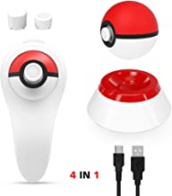 OIVO 4 in 1 Accessories Kit Compatible with Nintendo Switch Pokeball Plus Controller,with 1 Charging Cable with Stand, 1 Grip Holder Compatible with Nintendo Pokémon Lets Go Pikachu Eevee Game