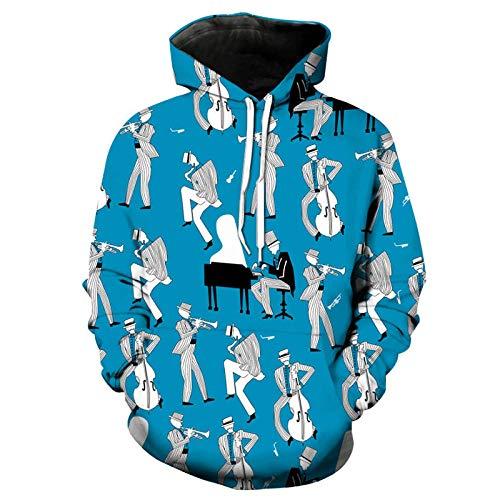 Kapuzenpullover Unisex 3D Druck Hoodies Mit Kängurutasche - Klavier des Blauen Himmels - Jungen Und Mädchen Erwachsene Kinder Cool Und Ungewöhnliche Mode Straßentanz Weihnachten Sweatshirts - XL