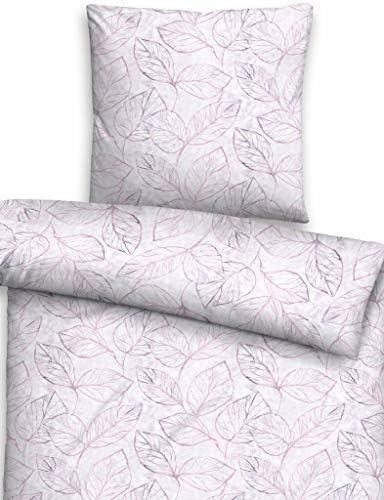 Biberna 0085123 Parure de lit en Flanelle avec taie d'oreiller en Coton et Passepoil 135 x 200 cm + 1 taie d'oreiller 80 x 80 cm Indigo