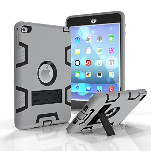 iPad mini Case, iPad mini 2 Case, iPad mini 3 Case,Fizze Three Layer PC & Silicon High Impact Hybrid Drop Proof Armor Full Body Protective Case With Kickstand for iPad mini 1 2 3 Generation