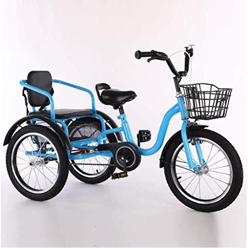 M-YN Triciclo Adulto Bicicletas de Tres Ruedas for niños Niñas, Triciclo 16 18 Pulgadas 3 Bicicletas de Ruedas Crucero Bicicletas Cómodas de Dos plazas con Cesta for niños de 2 a 12 años