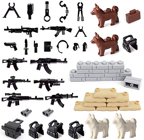 koolfigure Military Building Blocks Accessories Pack, Guns & Weapons, Sandbags, Wardogs, Wall Pieces, Vests Designed for Custom Army Minifigures