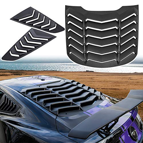 Yoursme Rear & Side Window Louvers Windshield Sunshade Cover Fits for Ford Mustang 2015-2021 in GT Lambo Style ABS Matte Black