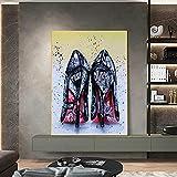 HHLSS Stampe per pareti 60x80cm Senza Cornice Donna Nero Scarpe con Tacco Alto Graffiti Art Street Poster Stampe Immagine da Parete Living Room Decor