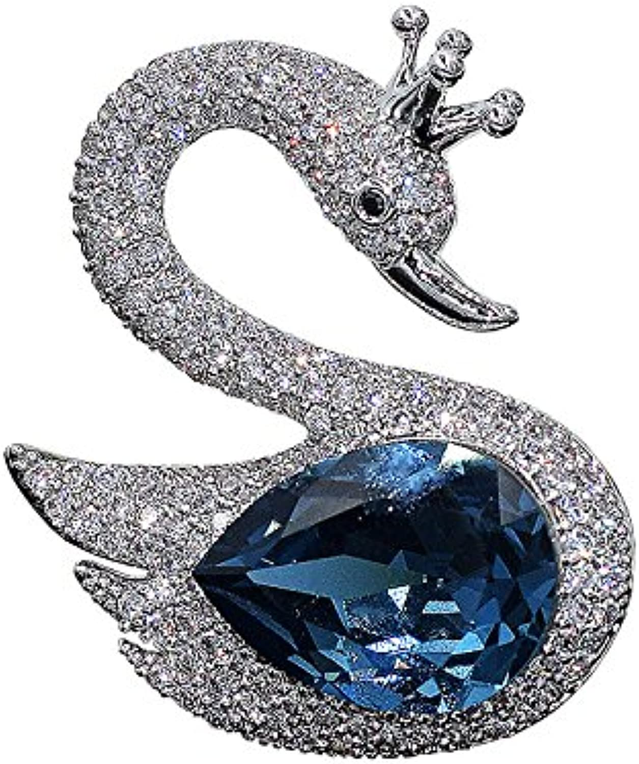 bluee Crystal swan Fashion high-Grade Crystal Brooch pin Badge Wild Women Girls Suit with Jewelry pin Brooch pin Badge Large