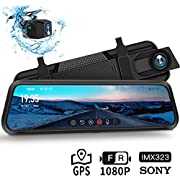 """Dash Cam, DuDuBell 10"""" Mirror Dash Cam with Reverse Assistance, Backup Camera Dual 1080P External GPS, Front and Sony IMX323 Rear Camera with Night Vision IPS Touch Screen Wide Angle HDR+"""