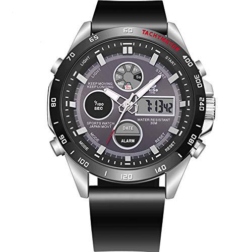 JQXB Reloj Digital Deportivo para Hombre, Moda Casual Impermeable Doble Pantalla Luminosa multifunción Deportivo electrónica Relojes de Pulsera,Black