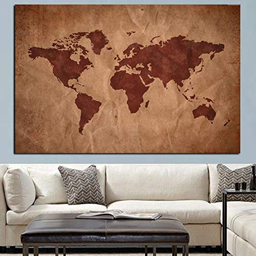 FKSRET Abstract World Map Canvas Painting Classical Black World Map Print On Canvas para Office Room Picture Wall Art Cuadros Decor A5 30X40CM Sin Marco