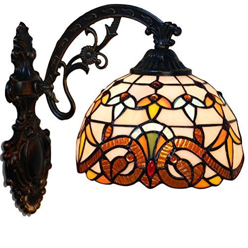 Odziezet Aplique Tiffany Lamp Vintage Mini Lámpara de Pared Iluminación para Interior y Exterior Marrón