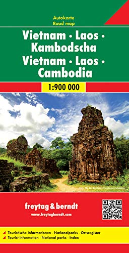 Vietnam - Laos - Kambodscha, Autokarte 1:900.000: Touristische Informationen. Nationalparks. Ortsregister (freytag &...