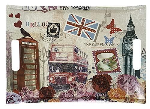 Lashuma Bandeja de melamina de colores para cocina, moderna bandeja de 38 x 27 cm, diseño de Londres