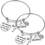 SATINIOR 2 Pieces Volleyball Softball Charm Bangle Bracelet Jewelry Gift for Ball Players (Volleyball)