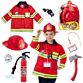 Born Toys 8 PC Premium WASHABLE kids Fireman Costume Toy for kids,Boys,Girls,Toddlers, and children with complete firefighter accessories by Born Toys