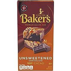 Baker's, Unsweetened 100% Cacao Baking Chocolate Bar, 4 oz