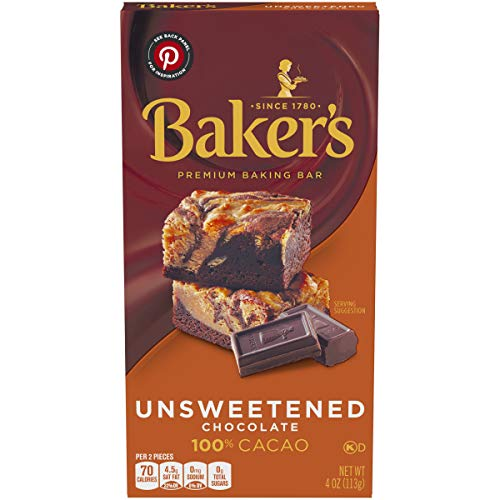 Baker's Unsweetened 100% Cacao Baking Chocolate, 4 oz Box