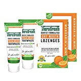 TheraBreath 24-Hour Fresh Breath Toothpaste 4 Ounces (Pack of 2) and TheraBreath Dry Mouth Lozenges with ZINC, Mandarin Mint Flavor, 100 Lozenges (Pack of 2)