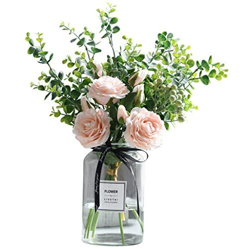 XXT - Flores artificiales de flores artificiales para decoración de TV, mesa de centro o mesa de centro rosa
