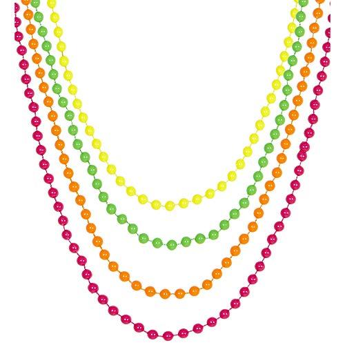 Widmann 05843 – Neonfarbene Perlenkette, 4-farbig, grün, pink, orange, gelb, Halskette, Schmuck, Accessoire, 80er Jahre Outfit, Disco, Neonparty, Motto Party, Karneval
