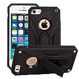GHC Fundas & Covers para iPhone SE / 5S / 5, a Prueba de Golpes de Doble Capa 2-en-1 Armadura de PC + TPU Protector Duro del Caso del Soporte para iPhone SE / 5S / 5 (Color : Negro)