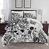 HouseLook Duvet Cover Set Hunting Comforter Cover with Zipper Closure Hunting Dogs in The Forest Monochrome Drawing English Pointer and Setter Breeds Decorative 3 Piece Bedding Set Queen Size