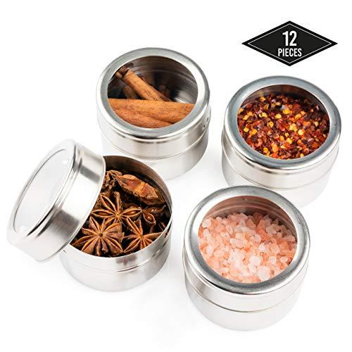 12 Pots à Épices Magnétiques en Acier Inox, Boîtes à Épices, Récipients à Épices - Aimant Puissant, Durable, Pratique - Herbes Sel Poivre Assaisonnement| Organisateur Rangement de Placard de Cuisine.