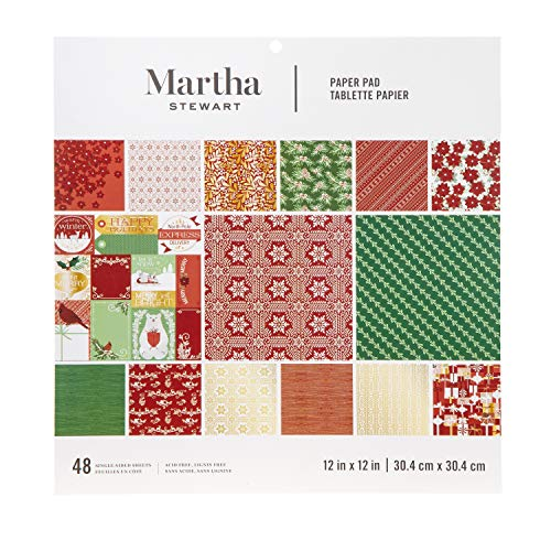 Martha Stewart Paper Pad-Red/White/Greenery 12x12 Paperpad, 12 x 12 inches, Multicolor