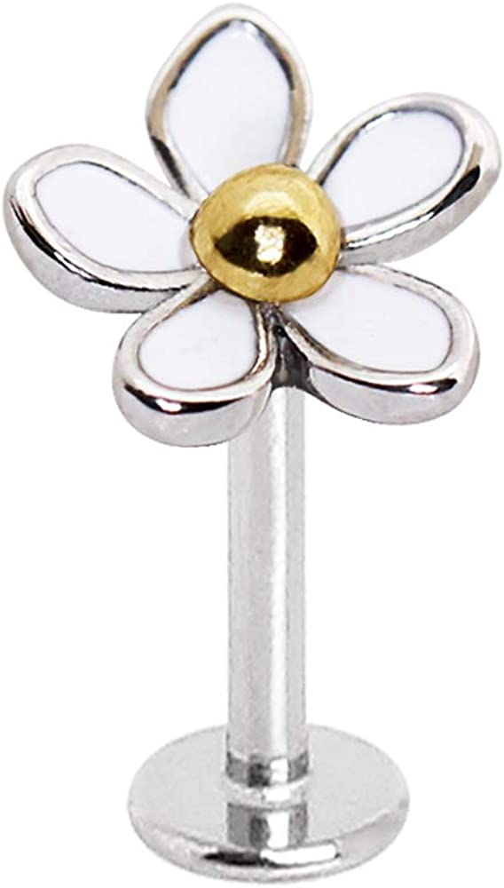 Amelia Fashion 16 Gauge White Daisy Labret Stud Externally Threaded 316L Surgical Steel for Lip Chin or Ear Cartilage