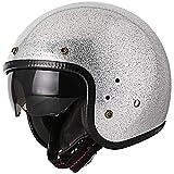 Chern Yueh Retro Motorcycle Open Face 3/4 Helmet Lightweight (Silver Metal Flake, Large)