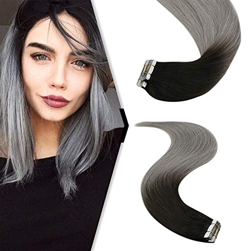 YoungSee Seamless Extensions Echthaar Tape Ombre Schwarz zu Blau Grau - Skin Weft Tape in Echthaar Extensions Glatt - 20 Stuck 40 cm Seamless Glue Tape on Extension Menschliches Haar 50gramm