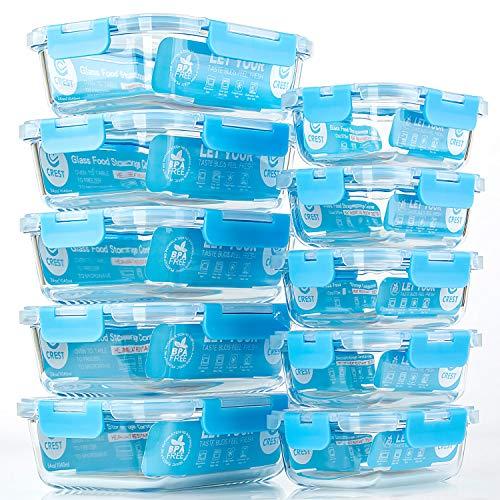 Crest 10er-Set Glas-Frischhaltedosen, luftdicht, BPA-Frei, Geeignet für Mikrowelle, Gefrierschrank und Spülmaschine