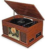 XXSHN Tocadiscos, Tocadiscos, Centro de música Retro de Madera Hi-Fi con Tocadiscos a Control Remoto, Reproductor de CD Cassett (fonógrafo Vintage)