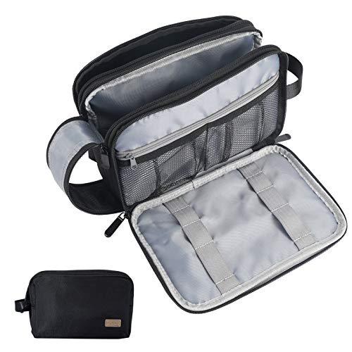 Toiletry Bag for Men, Travel Toiletry Organizer, Dopp Kit Water-Resistant Shaving Bag, Hanging Travel Bags for Toiletries, Perfect Travel Toiletries Accessories for Men and Women (Black)