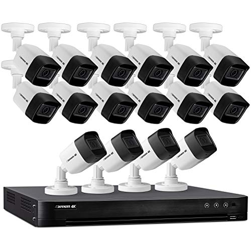 Defender 4k Ultra HD Wired Security Cameras - Night Vision, Mobile Viewing, Motion Detection Cameras for Security - Outdoor Security Cameras for Home - 16 Channel/16 Cameras